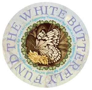 White butterfly fund sepia only sticker w purple text for cd cover backround grey web