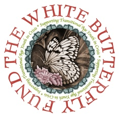 White butterfly fund sepia color sticker w text web