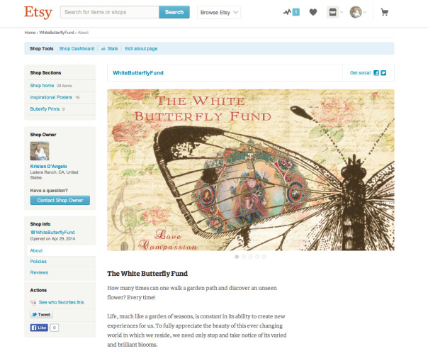 the white butterfly fund etsy shoppe