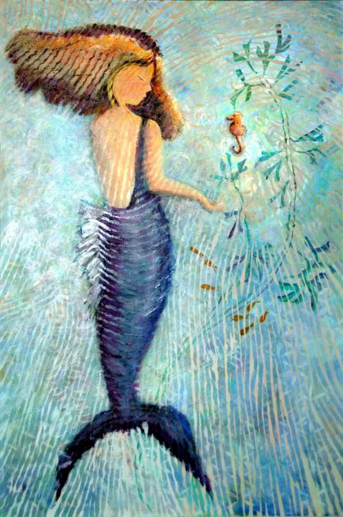 Sea Horse and Mermaid Print