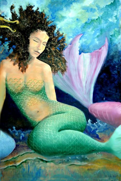 Brunette Tails Mermaid Print