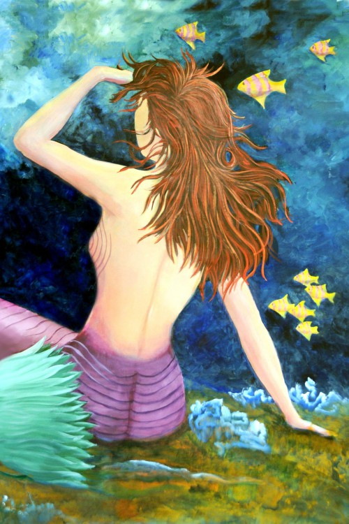 Red Head Tails Mermaid Print