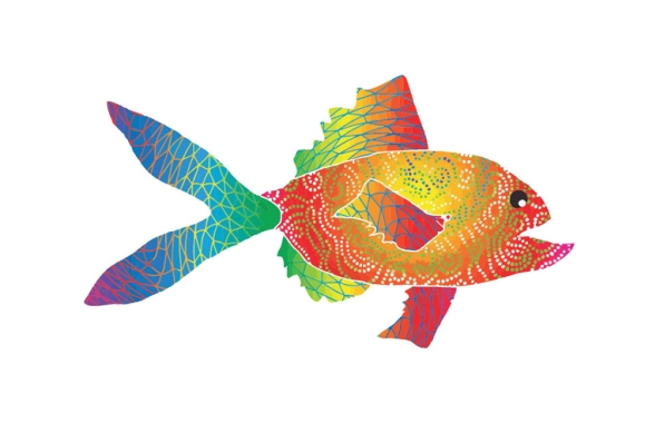 Rainbow Swirl Fish Print